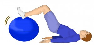 ischios sur swiss ball, muscles magiques - SanteSportMagazine 33 - illustration Mathieu Pinet